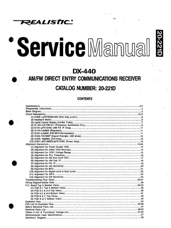 realistic dx 440 service manual