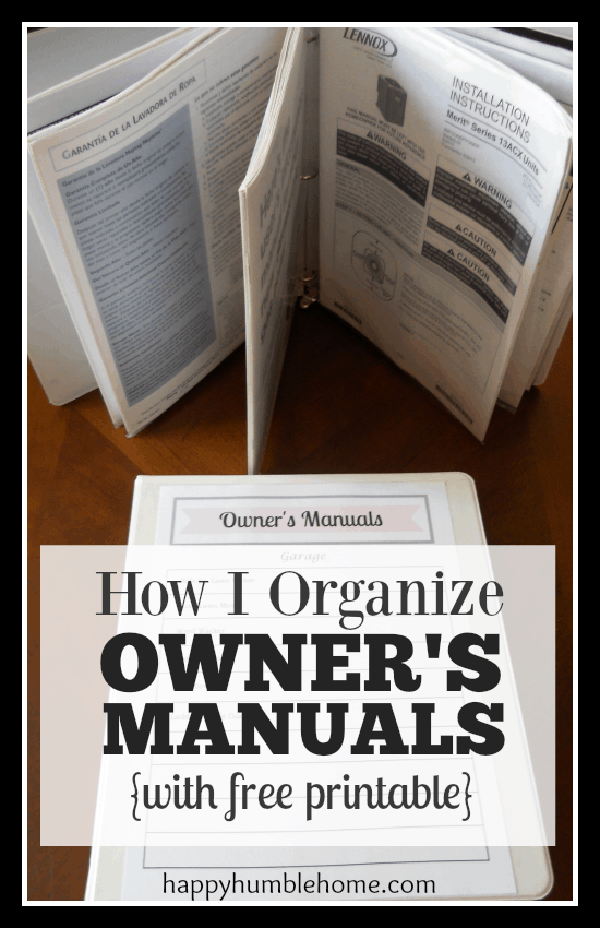 how to organize owners manuals